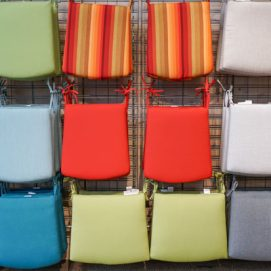 colorful cushions for outdoor furniture at Molbak's Garden + Home