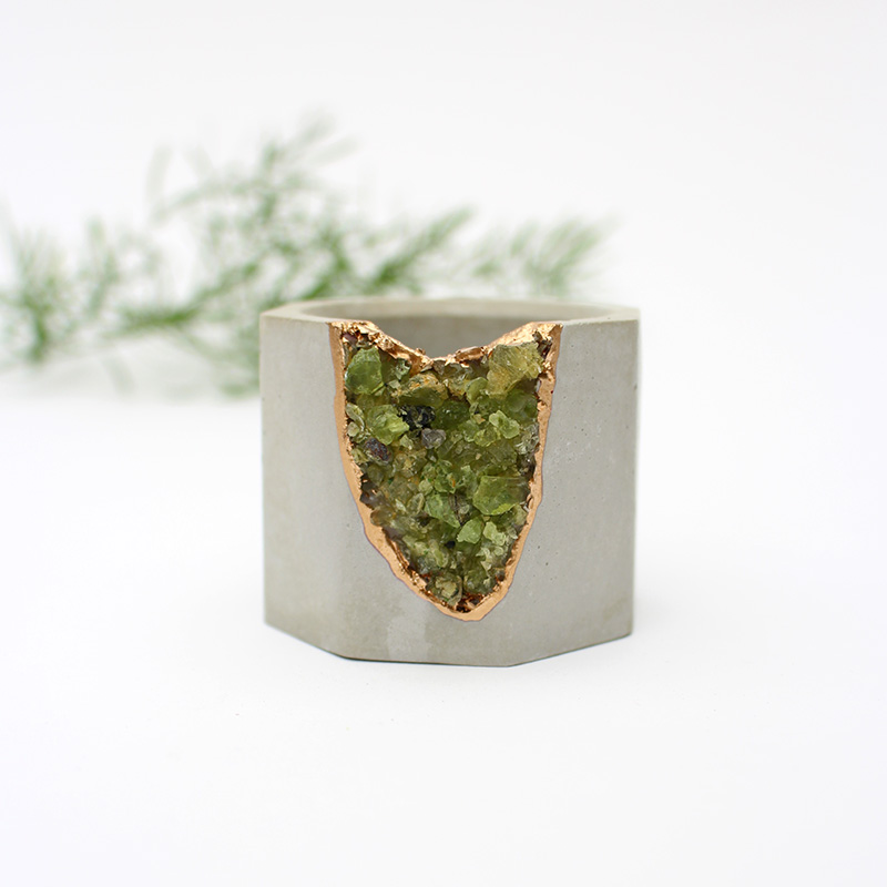 Small Peridot Geode Planter