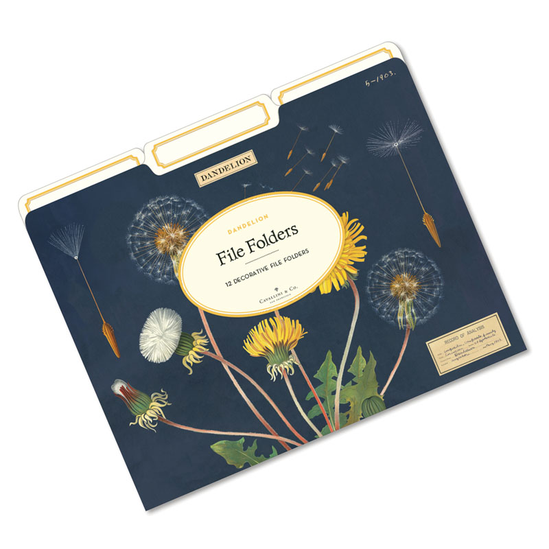 File folder with vintage dandilion art