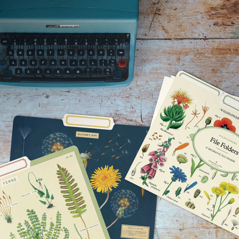 File folders covered with flowersand plants