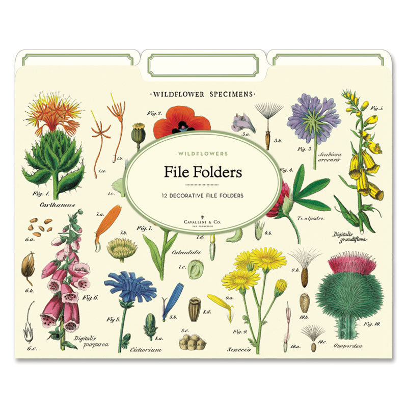 File folders covered with wildfowers