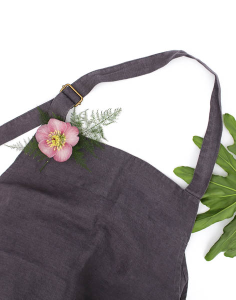Linen Chef's Apron - Dark Grey