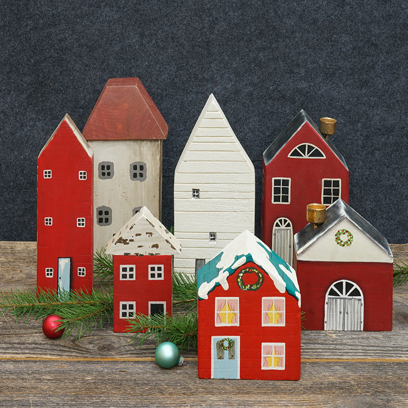 Holiday House - 5 in. x 11 in., White house with red roof
